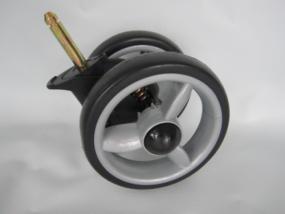 Vorderrad, Vorderradblock, Block für Babywelt Buggy Moon Fit und Flic bis 2012 Farbe: silber