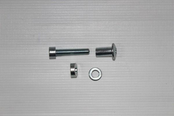 1x Teutonia Cosmo Schraube, Gewindeschraube + Mutter, Spezialmutter für Untergestell - chrom - Evtl. muß das äußere Schraubloch von 8,0 mm auf 9,0 mm vergrößert werden