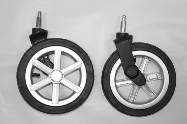 1x Set ABC Rad, Räder, Vorderrad, Vorderräder, Luftrad, Lufträder für Tereno 4, Zoom Air - silber - mit Fehlern/Kratzern